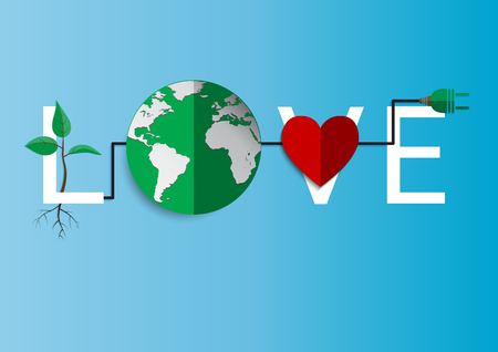 earth day: Love environment.With ecologicl concept design.Vector illustration.