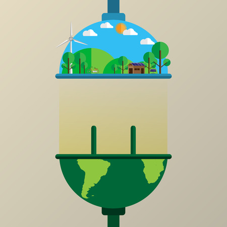 earth day: Connecting the earth to nature flat line style with ecological and environmet concept.Vector illustration. Illustration