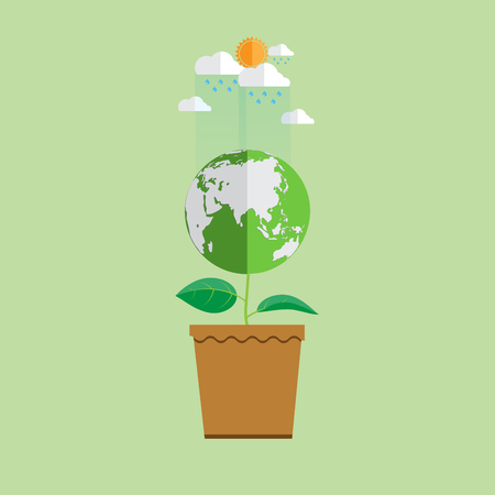 earth day: Eco and nature concept flat design.With earth in plant shape growth from pot in ecosystem conservation concept design.Vector illustration.