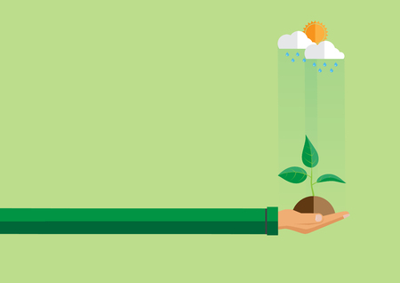 earth day: Ecological concept design.Hand holding green plant in flat style.Vector illustration.