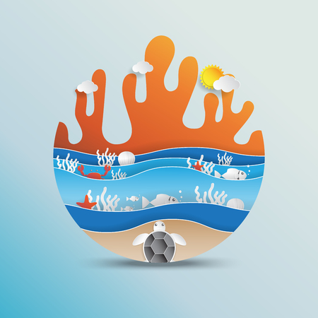 World oceans day concept design with ecosystem and environment conpt in paper art style.Vector illustration.