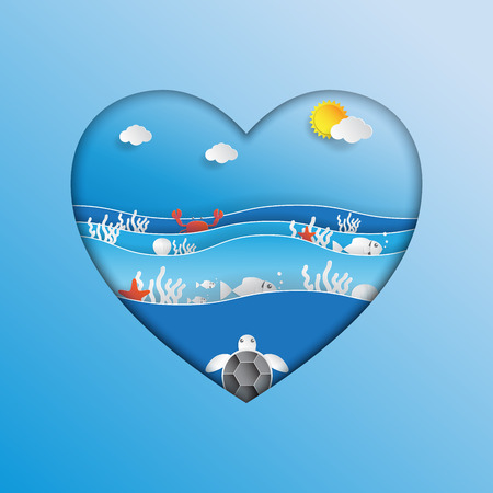 World oceans day concept design in heart shape with ecosystem and environment concept in paper art style.Vector illustration.