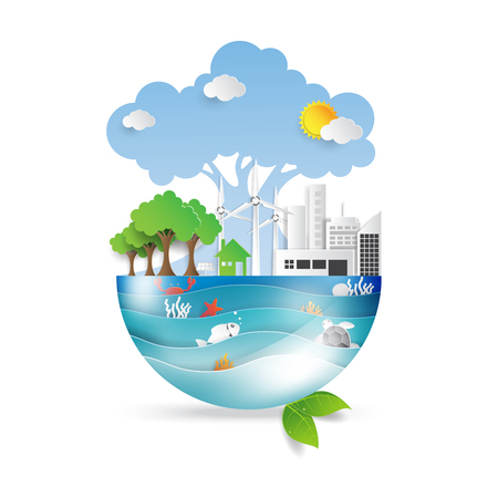 Green life with eco and environment concept.Ocean and wildlife conservation idea in paper art style on white background.Vector illustration.