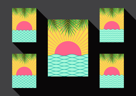 memphis: Set of sea and sun summer background layout design greeting card,book cover and template in memphis style.Vector illustration. Illustration