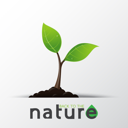 cultivate: Save the nature.Green seedling in the ground with eco concept design.Vector illustration.