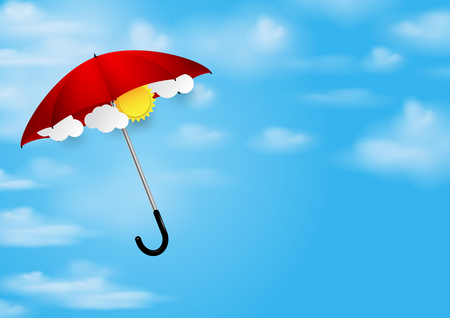 floating: Red umbrella and blue sky protection sunny day.Vector illustration. Illustration