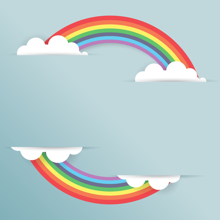 Rainbow and cloud paper cut style.Vector illustration. Illustration
