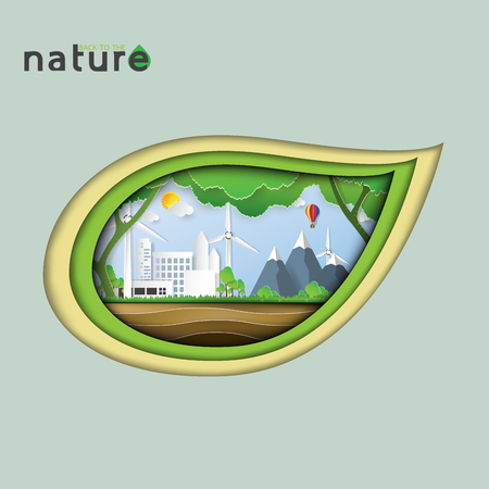 earth day: Eco and nature concept paper art style design.Green city in leaf shape.Vector illustration.