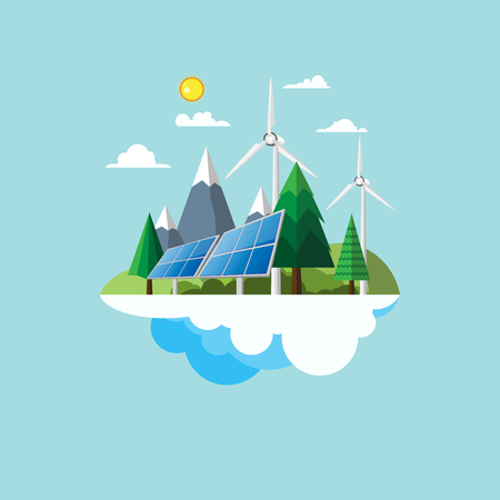 flat earth: Eco friendly and nature landscape concept flat design with renewable energy and environment conservation concept design.Vector illustration. Illustration