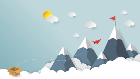 Red paper airplane out of the box to red flag on mountain paper art style.Business success concept vector illustration.