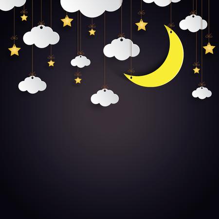 Nuvole d'attaccatura, stelle e stile di arte di carta della luna sul fondo di notte. Illustrazione di vettore. Archivio Fotografico - 82050179