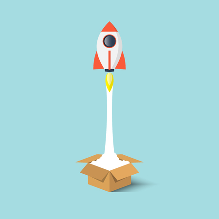 Rocket ship launch from the box flat design.Start up business concept think outside the box.Vector illustration. Illustration