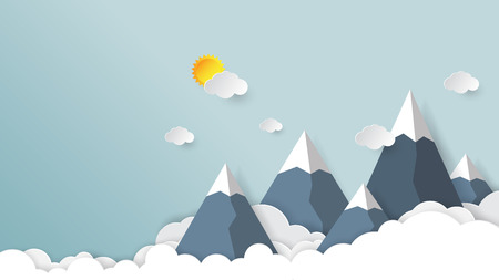 Clouds,mountains and sky background.Paper art style vector illustration. Ilustração