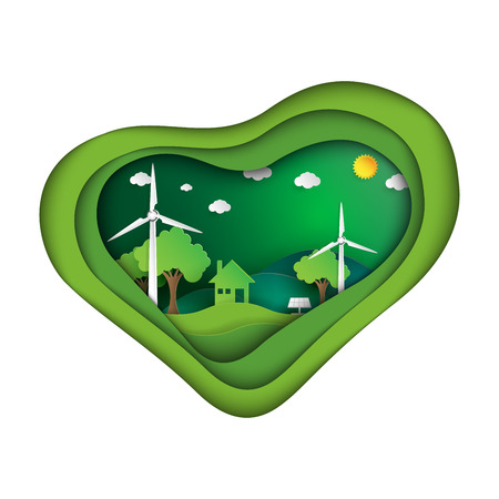 Save the world with green eco friendly concept in heart shape paper art style.Vector illustration