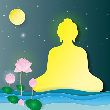 夜背景に仏、蓮の花、満月を座っています。紙アート スタイル ベクトル イラスト。