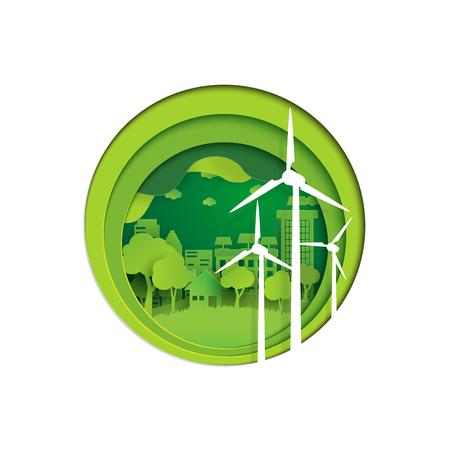 Progettazione di stile di arte della carta di concetto di natura e di Eco Concetto verde di conservazione dell'ambiente e della città Illustrazione di vettore. Archivio Fotografico - 83251512