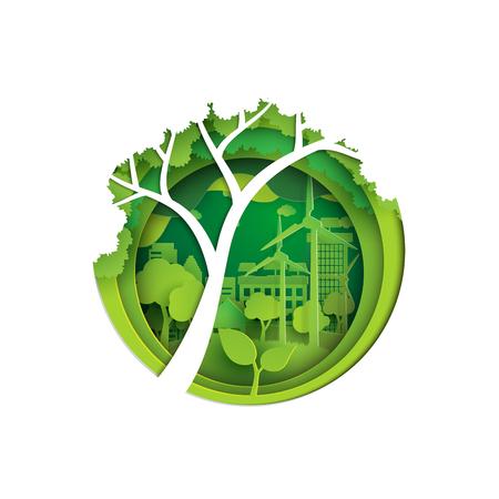 에코 자연 개념 종이 아트 스타일 디자인입니다. 녹색 도시와 환경 보존 개념입니다. 벡터 일러스트 레이 션.