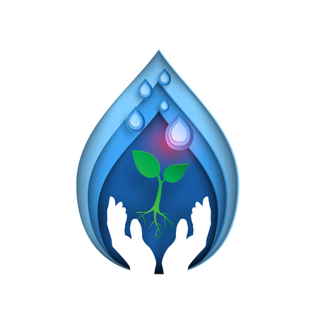 Save water concept with ecological in water drop shape paper art style.Hands holding seedling receive water drop vector illustration.