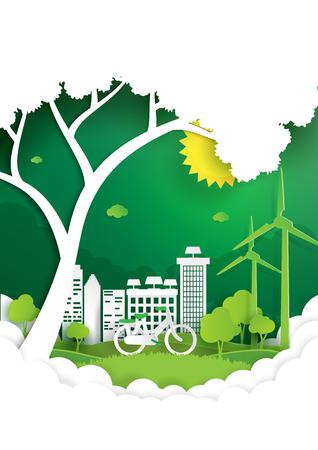 エコと自然概念ペーパー アート スタイルのデザイン。緑の都市と環境保全概念と自然風景。ベクトルの図。