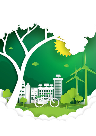 Eco and nature concept paper art style design.Nature landscape with green city and environment conservation concept.Vector illustration.