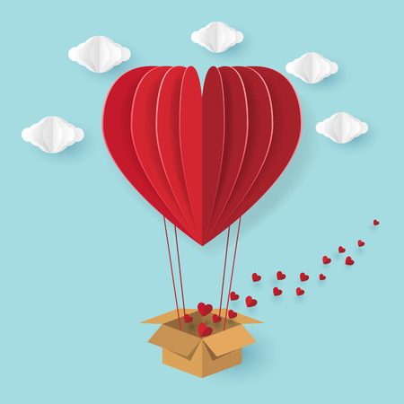 Hot air balloon in heart shape flying on blue sky with love concept.Vector illustration. Vetores