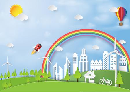 Nergie verte et style d'art papier concept amical. Concept de conservation nature et environnement. Illustration vectorielle. Banque d'images - 86474775