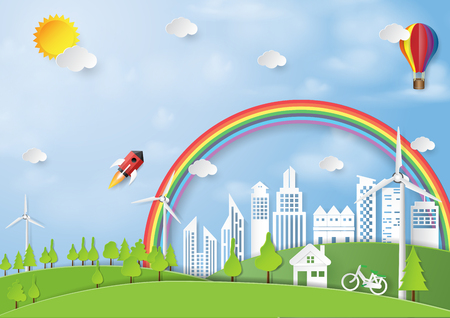 Green energy and eco friendly concept paper art style.Nature and environment conservation concept.Vector illustration.