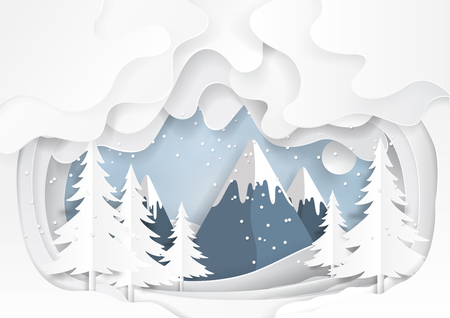 Mountains and nature landscape on snow winter background.For merry christmas and happy new year paper art style.Vector illustration. Vettoriali