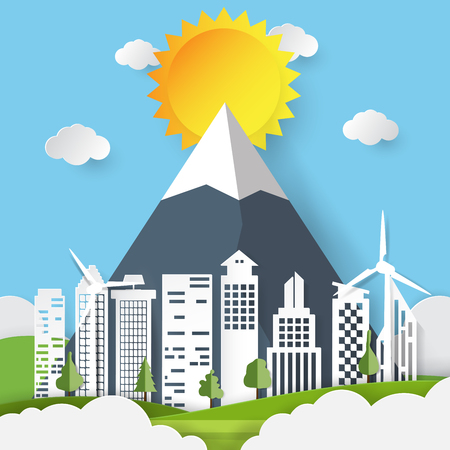 Green ecological city and renewable energy paper art style.Nature and environment conservation concept vector illustration.