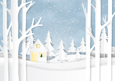 Nature landscape and house on snow winter background.For merry christmas and happy new year paper art style.Vector illustration. Vettoriali