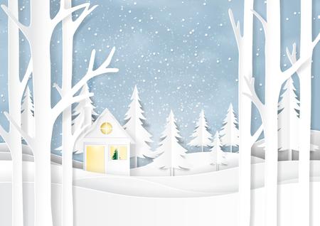 Paysage de nature et de la maison sur fond d'hiver neige. Pour joyeux Noël et bonne année style d'art papier. Illustration vectorielle. Banque d'images - 87970563