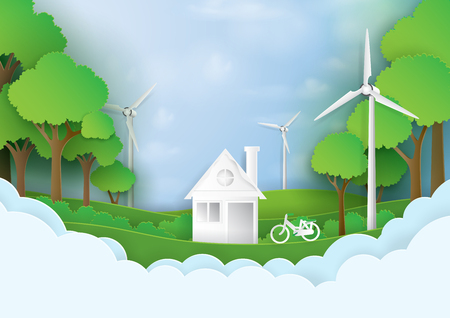 녹색 환경 친화적 인 살아있는 house.Saving 세계 및 환경 개념. 녹색 에너지 종이 아트 스타일에 대 한 자연 풍경입니다. 벡터 일러스트 레이 션. 일러스트