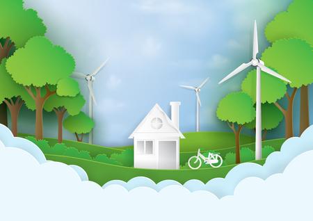 Groen milieuvriendelijk het leven huis. Bewaar het wereld en milieuconcept Aardig landschap voor groene energiedocument kunststijl Vector illustratie.