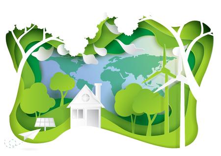 Go green.Nature landscape and eco friendly concept.Paper carve of environment conservation conceptual design.Vector illustration.