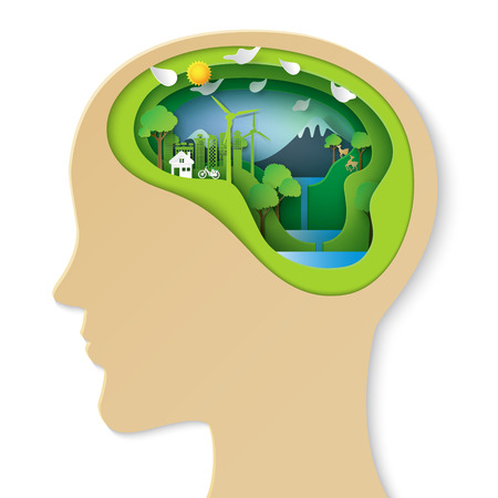 Think green creative idea concept.Human head thinking about green eco city and environment conservation paper art style.Vector illustration.