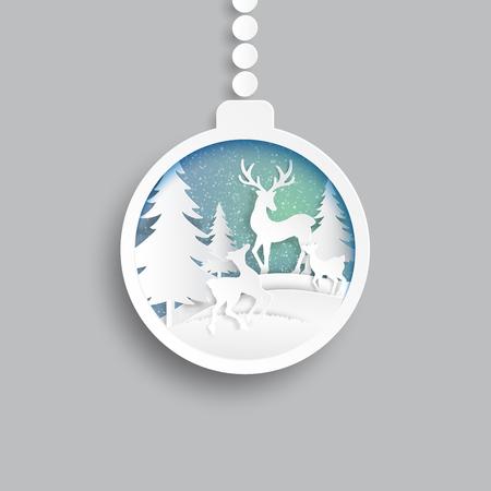 Christmas ball with deers family joyful on snow and winter season illustration. Ilustracja