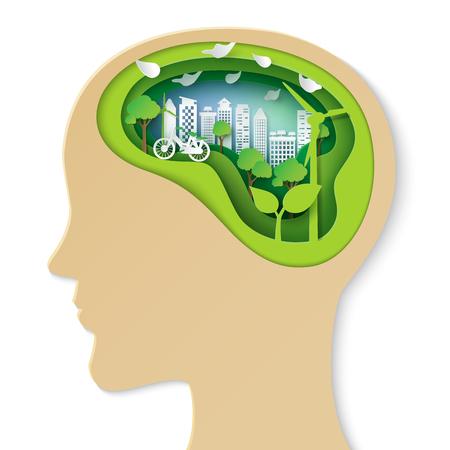 인간의 머리 자연과 환경 보존 종이 아트 스타일에 [NULL]에 대해 생각합니다.