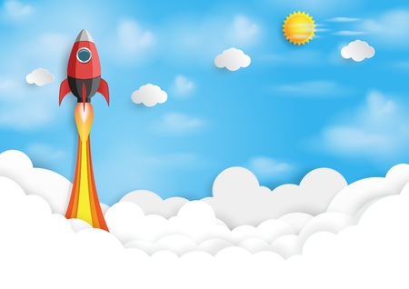 Rocket ship icon into blue sky. Business start up concept design paper art style. Vector illustration.