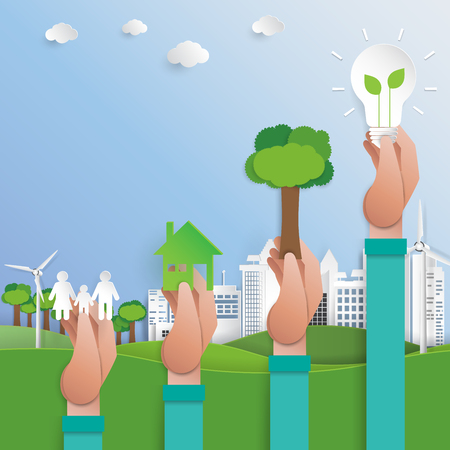 Lets save the world.Green city for ecological environment conservation.Paper art style vector illustration.