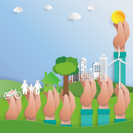 Save the world concept with hands holding the different elements of environment, vector illustration Illustration
