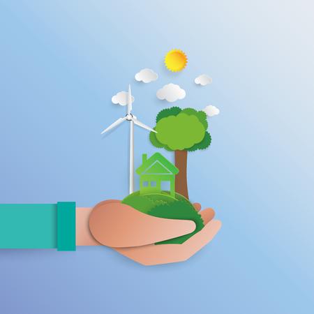 緑のエコ フレンドリーなコンセプトを持っている手。世界を保存してみましょう。環境保全のため緑豊かな街。紙アート スタイルのベクトル図です