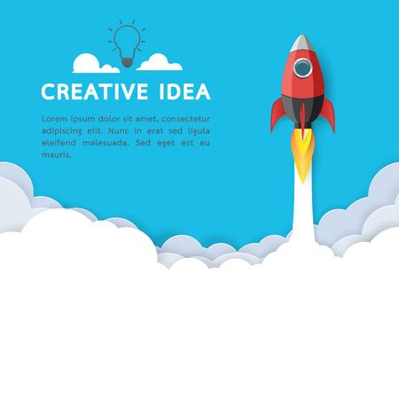 Creative idea with rocket ship icon.Business start up concept paper art style design.Vector illustration. Vektorové ilustrace