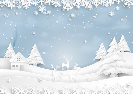 Deer joyful on snow and winter season with urban landscape background paper art style for merry Christmas and happy new year.