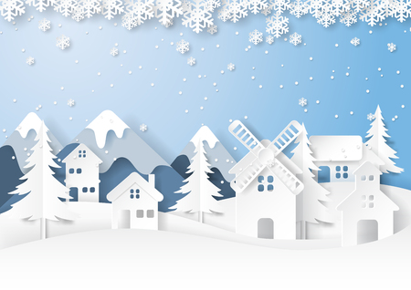 Urban countryside on snow and winter season landscape background.For merry christmas and happy new year paper art style.Vector illustration.