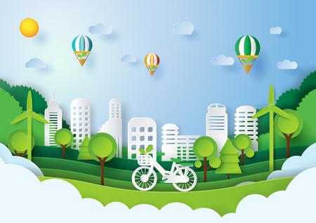 グリーン エネルギー コンセプト デザイン。エコ都市概念と環境保全の紙のアート スタイル。ベクトルの図。