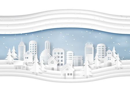 Urban countryside and cityscape with snow and winter season background paper art style for merry christmas and happy new year.Vector illustration. 矢量图像