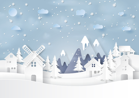 Urban countryside landscape on snow and winter season background paper art style for merry christmas and happy new year Vector illustration. Çizim
