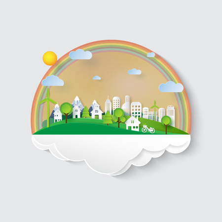 Green eco friendly and nature landscape concept design.Urban countryside and cityscape of environment conservation paper art style.Vector illustration. Vettoriali