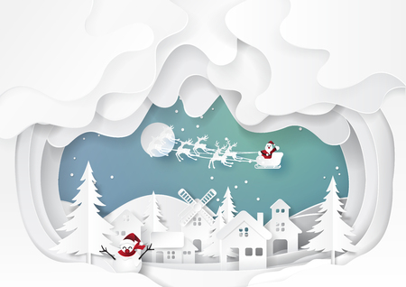 Santa claus with urban countryside on snow and winter season background.For merry christmas and happy new year paper art style.Vector illustration. Vettoriali