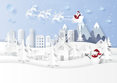 Santa claus on snow and winter season with urban countryside landscape background for merry christmas and happy new year paper art style.Vector illustration.